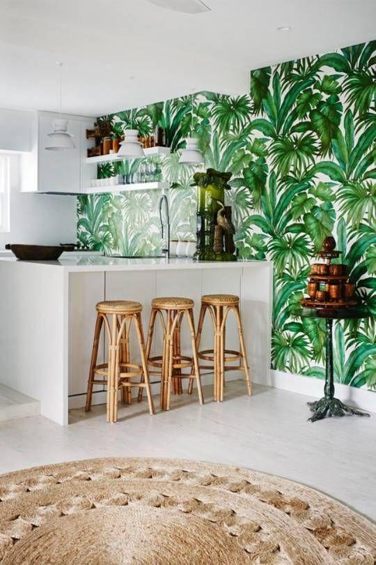nuansa tropikal pada wallpaper