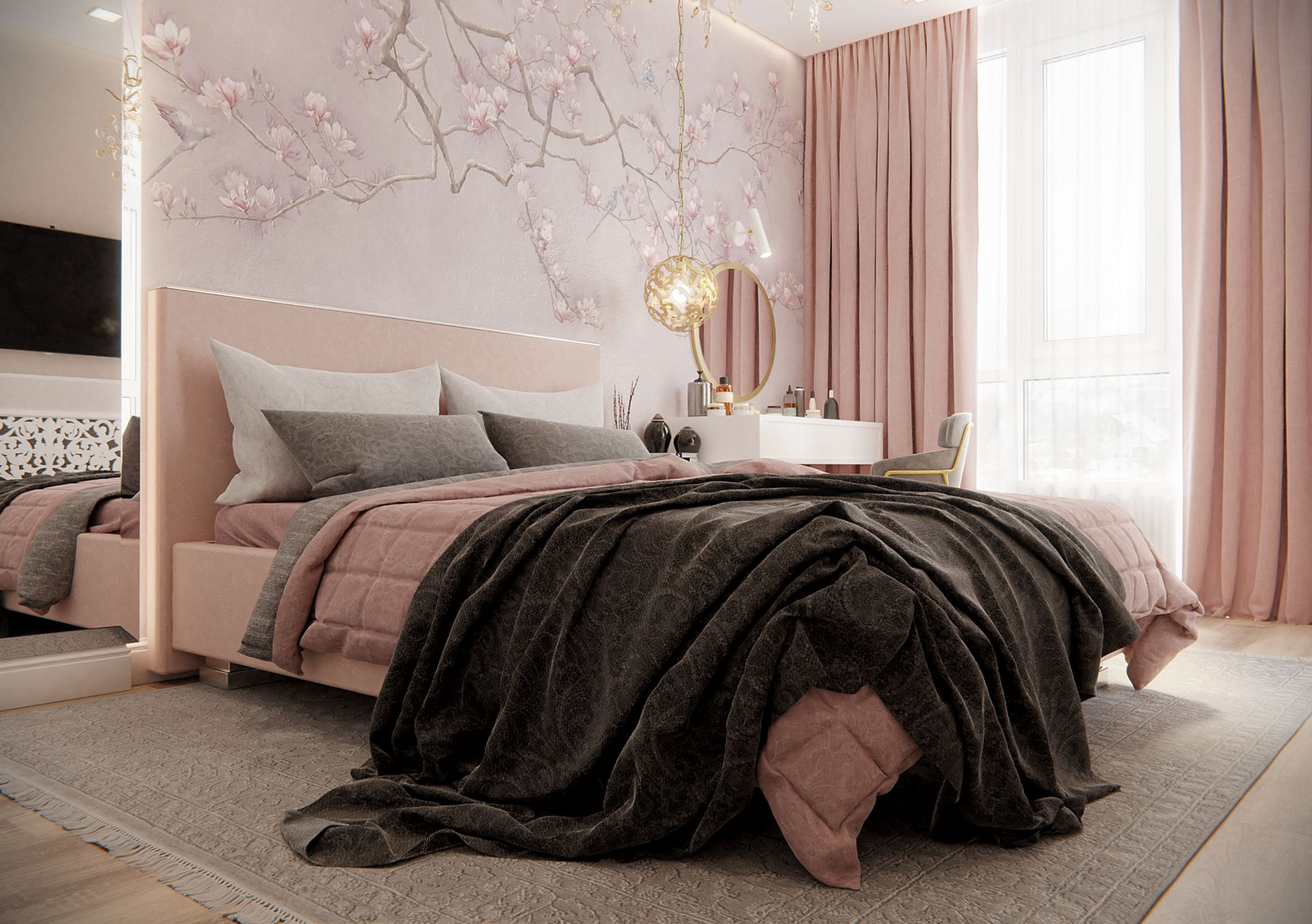 Dekorasi kamar warna pink