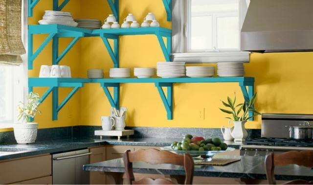 desain ruangan kuning dapur