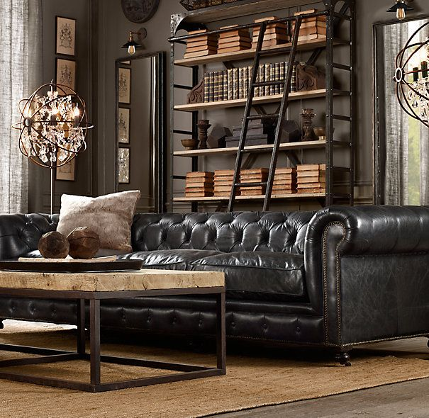 masculine interior design - leather material