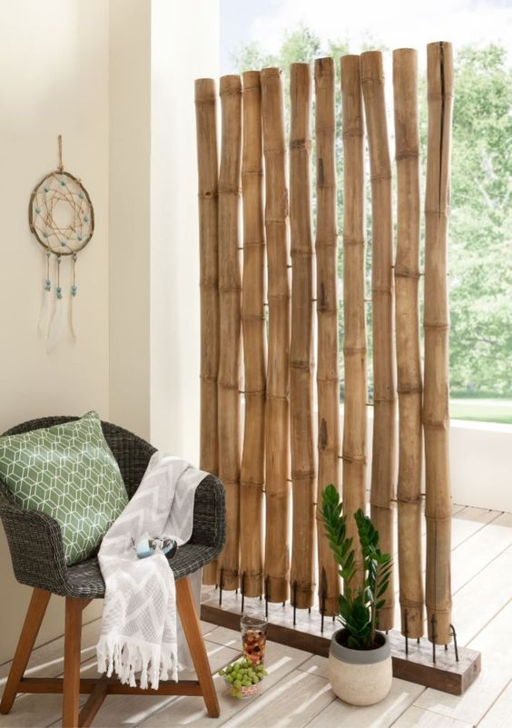 inspirasi desain sekat ruang bambu