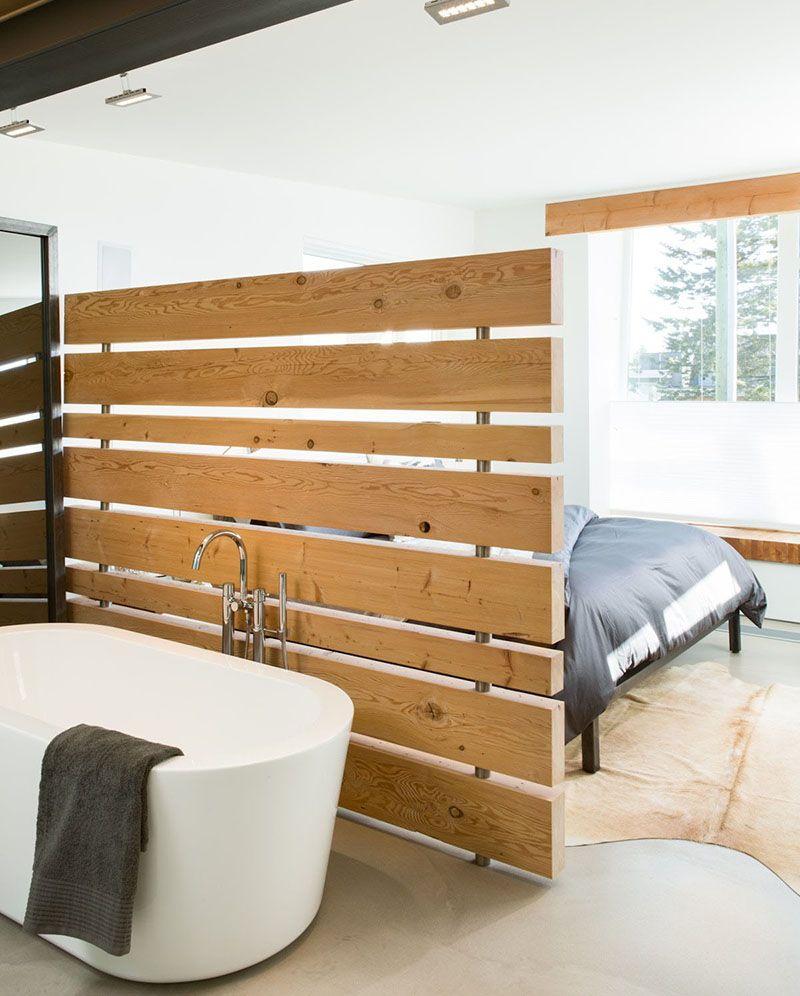 inspirasi desain sekat ruang panel kayu