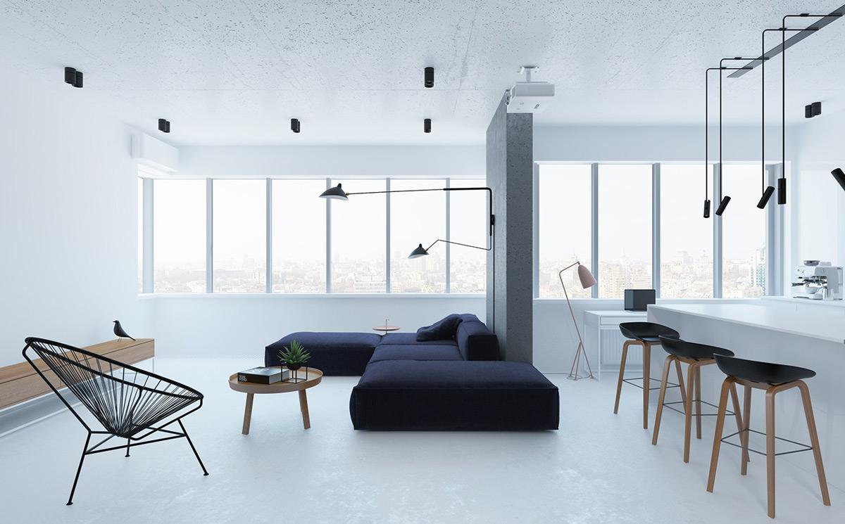 inspirasi ruang tamu minimalis warna putih