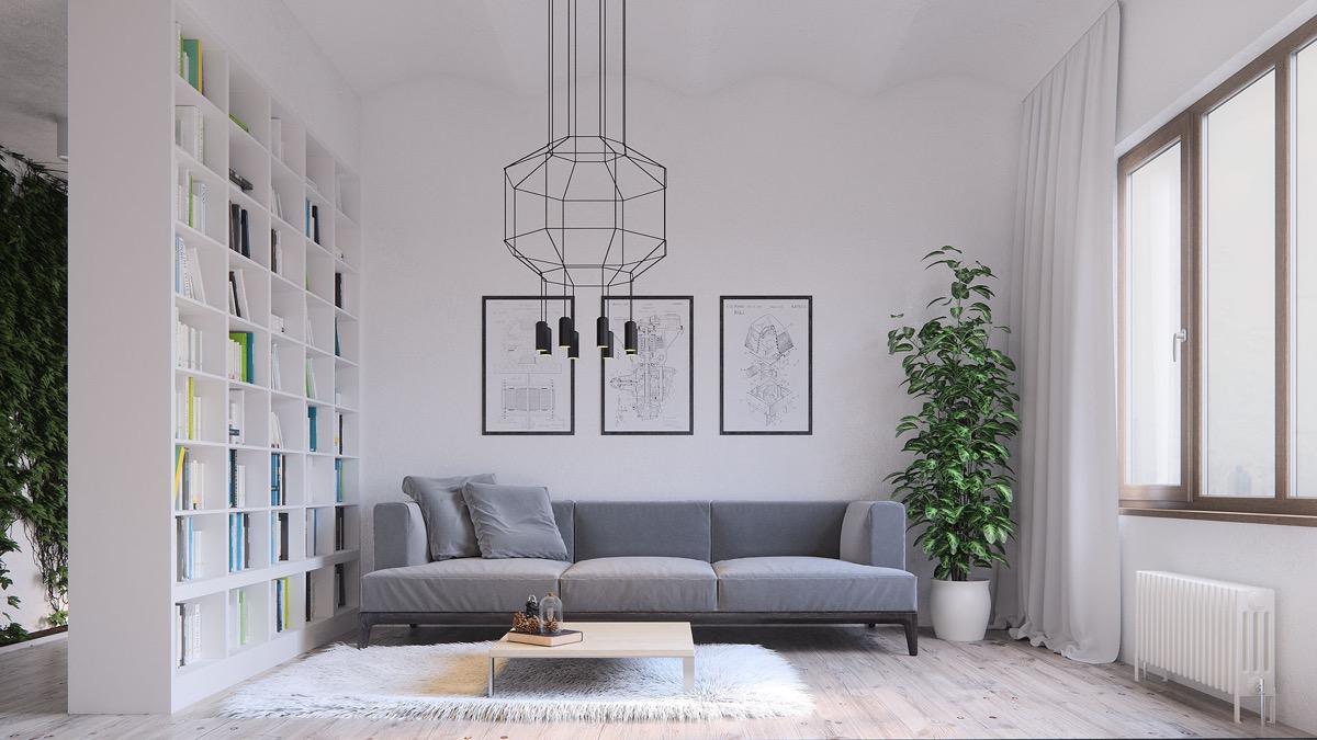inspirasi ruang tamu minimalis dengan sekat dinding