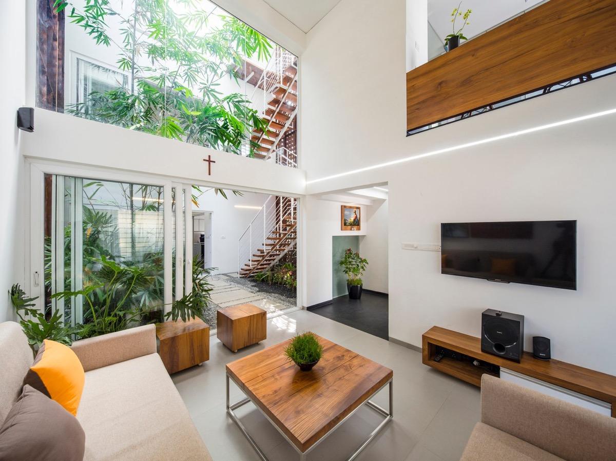 inspirasi ruang tamu minimalis dengan udara segar dari teras