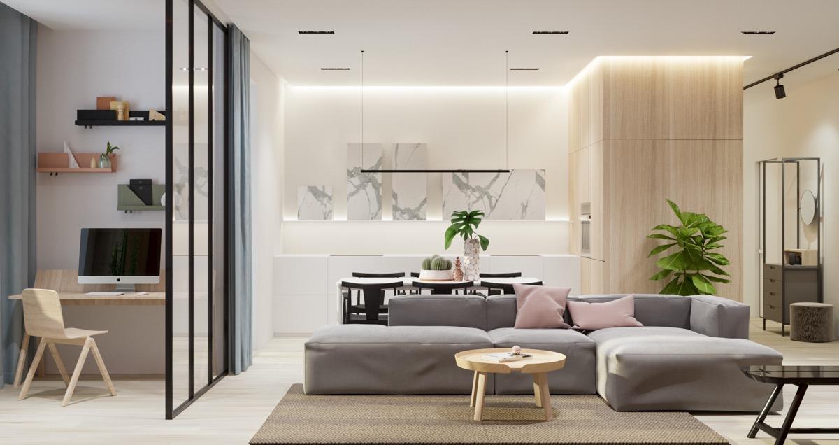 ruang tamu minimalis tanpa sekat