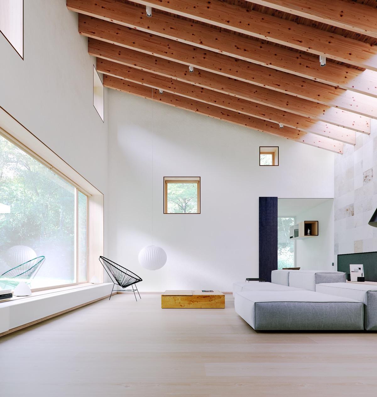 inspirasi ruang tamu minimalis dengan langit-langit ruang tinggi