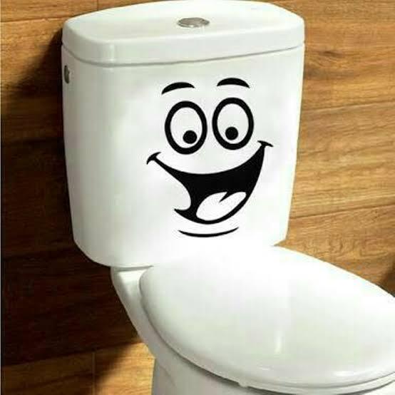 aksesoris lucu kamar mandi - stiker toilet