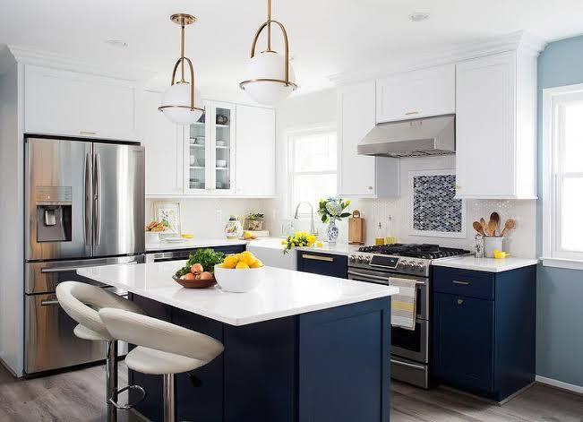 ruangan navy blue untuk dapur modern