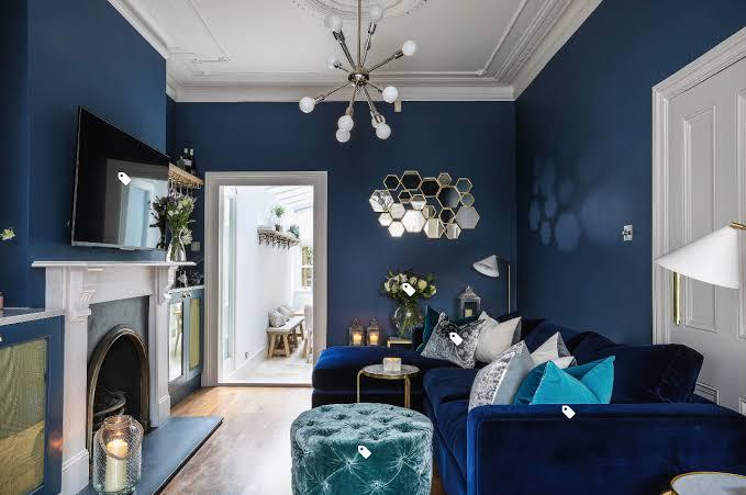 ruangan navy blue ruang tamu