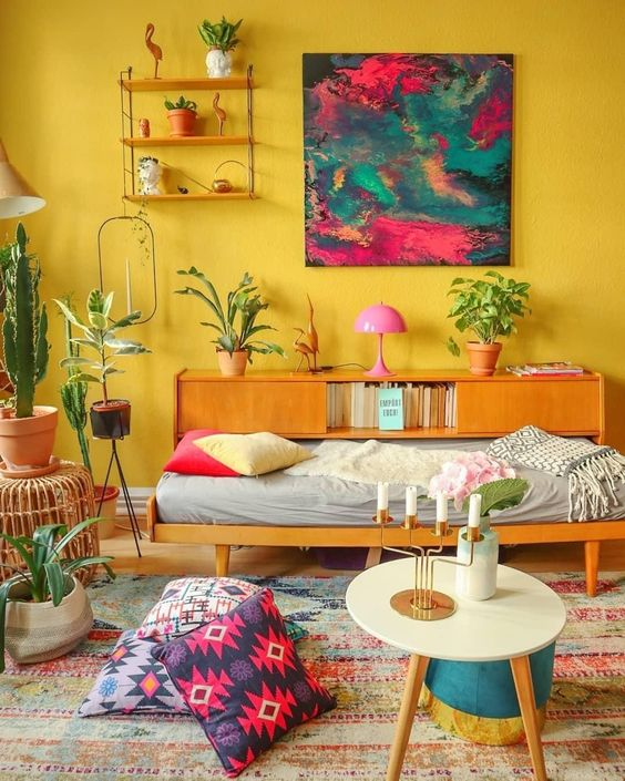 unique yellow living room