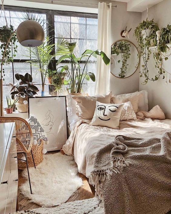 kamar minimalis dekorasi rumah dengan tanaman