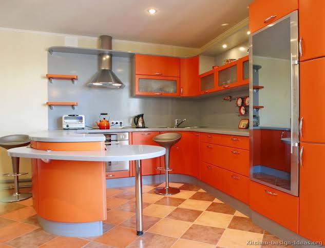 dapur dan ruang makan orange