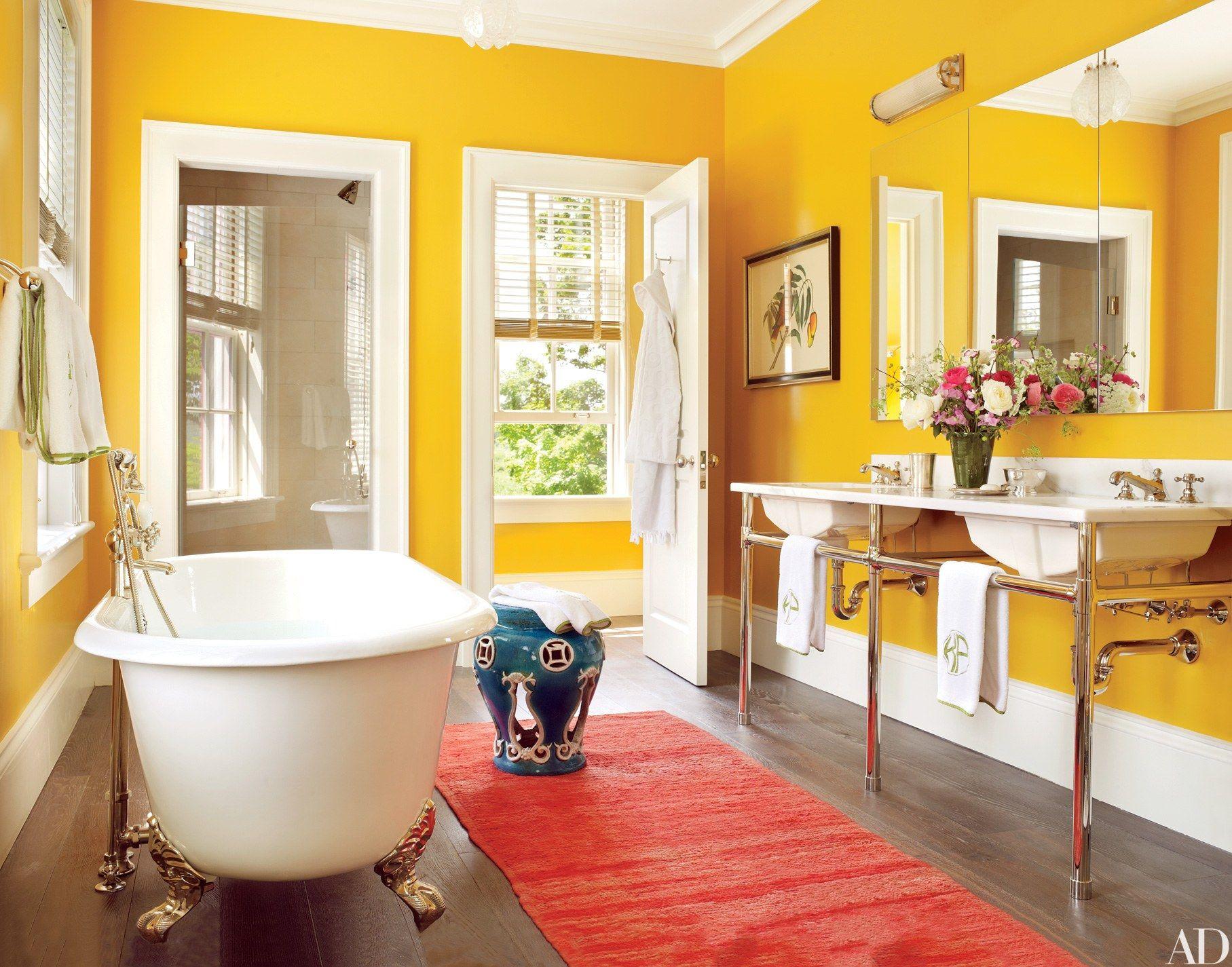 desain ruangan kuning kamar mandi