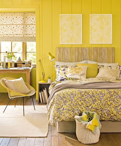 desain ruangan kuning kamar tidur