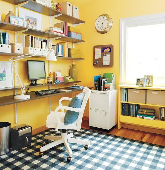 desain ruangan kuning ruang kerja
