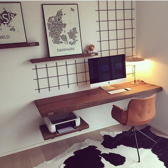 Desain meja komputer kayu melayang