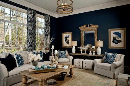 10 inspirasi ruangan di rumah dengan dekorasi warna navy blue