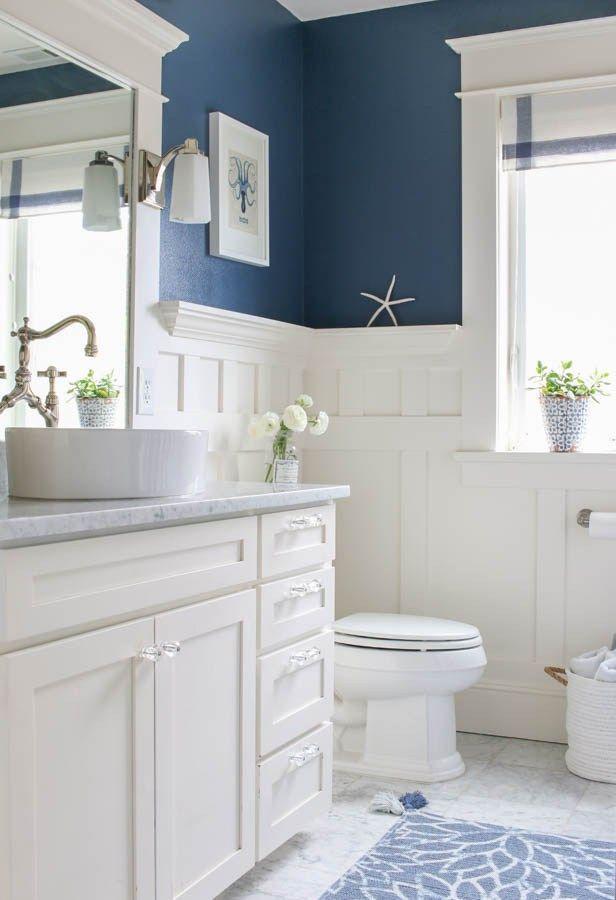 Toilet dengan kombinasi putih dan biru