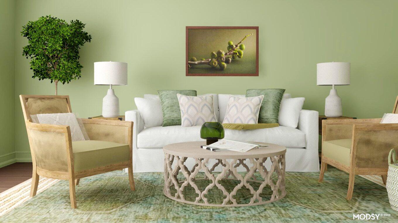 desain ruang tamu hijau