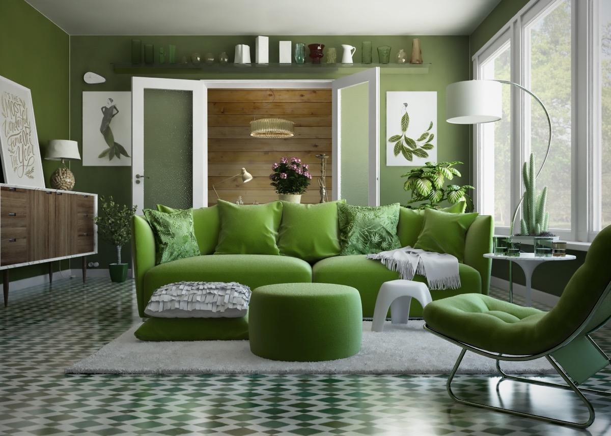 10 Inspirasi Ruang Tamu Hijau Untuk Desain Minimalis Hingga Klasik